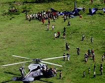 U.S. Helicopter Distributes Aid in Indonesia