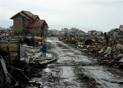 Destroyed houses in Banda Aceh