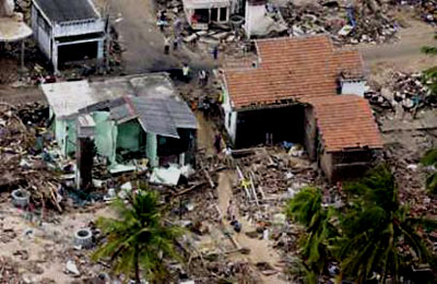 Destroyed houses in Sri Lanka