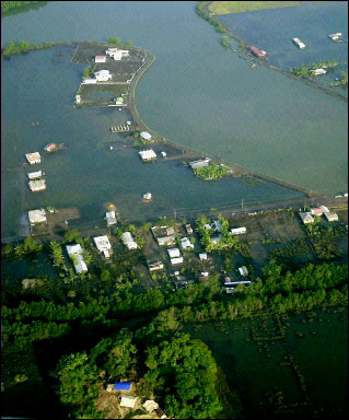 A badly flooded area near Port Blair, India