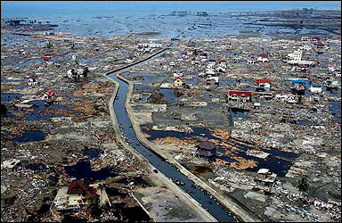Destroyed houses in a badly flooded area of Banda Aceh, Indonesia