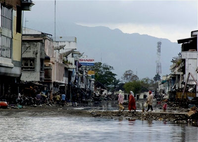 A flooded area of Banda Aceh, Indonesia