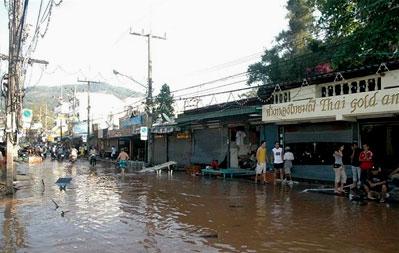 A flooded street in Thailand