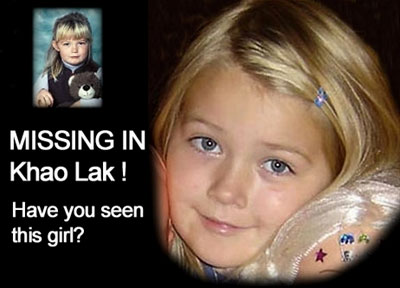 A poster for a missing girl in Khao Lak, Thailand