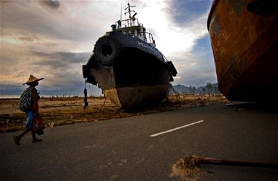 Ships pushed ashore in Banda Aceh, Indonesia