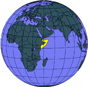 World Map Showing Somalia (Yellow Area)