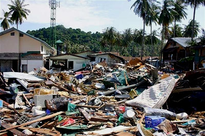 Destroyed houses and rubble in Thailand