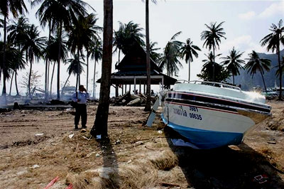 A boat that was pushed ashore by the tsunami in Thailand