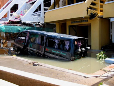 A van that was pushed into a swimming pool in Thailand