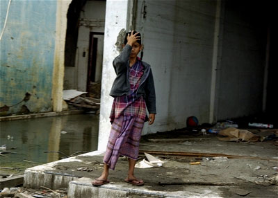 A woman views the destrucion of a section of Banda Aceh